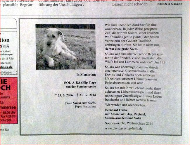 Solara ist tot: Todesanzeige in der Süddeutschen Zeitung vom 27./28. Dezember 2014