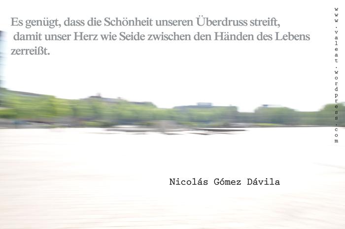 Wenn die Schönheit das Leben streift - Nicolás Gómez Dávila. Foto: (c) Valeat